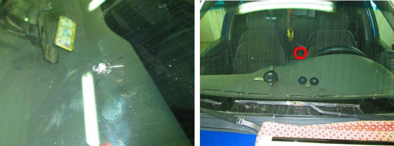 Ремонт сколов лобового стекла - фото до и после ремонта